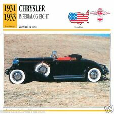 CHRYSLER  IMPERIAL CG EIGHT 1931 1933 CAR VOITURE USA ETATS-UNIS CARD FICHE