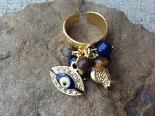 TURKISH JEWELRY EVIL EYE Charm Ring Semi Precious Stones Gold Pl Blue Brown