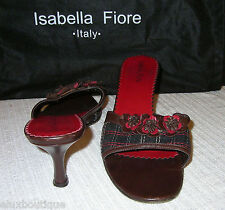 ISABELLA FIORE Leather SHOES Camellia Mules Pumps Heels 9 8.5 Brown Black Slides