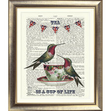 ART PRINT ON ORIGINAL ANTIQUE BOOK PAGE Tea Cup Shabby Chic Bird Vintage Picture