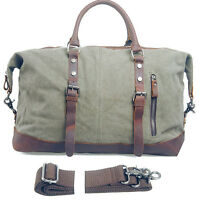 Men Vintage Retro cow Leather canvas lightweight luggage bags duffle weekend bag