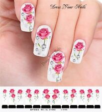 Water Decals -Pink Rose Nail Wrap Sticker Transfer  DIY Nail Stickers  C8-015