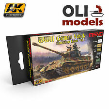 WW2 GERMAN VEHICLE CAMOUFLAGE Vol.1 Paint Set 6x17ml  AK Interactive Meng MC-813