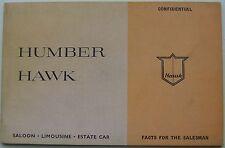 Humber Hawk Series II Original UK Salesmans Book Pub.749/H 1960
