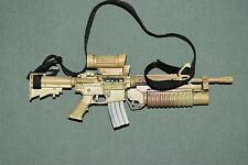"BBI 1/6 Tan M4 Assault Rifle Gun BARNEY w/ Grenade Launcher for 12"" Figures W-42"
