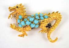 Hattie Carnegie Brooch Dragon Pin Faux Turquoise Cabochons Gold Chinese