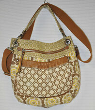 FOSSIL Beige YELLOW Brown LEATHER Trim CROSSBODY Shoulder BAG Purse CANVAS Guc