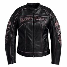 Harley Davidson Women's BLOSSOM Black Leather Jacket Pink Rose 97002-10VW S