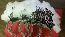 TIARAS BLACK HAPPY NEW YEAR SILVER GLITTER & WHITE FEATHERS ( 12 PER PACK )