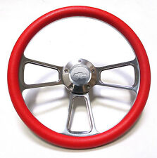 1969 -1994 Chevelle Steering Wheel Chrome & Red with Chevy Horn & Adapter