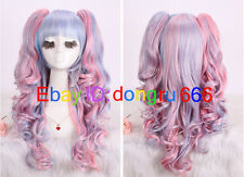 Anime Cosplay Costume Lolita Harajuku Multi Color Curly Wavy Long Hair Full Wigs