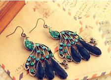 ANTIQUE BRONZE FINISH PEACOCK DROP DANGLE CRYSTAL EARRINGS