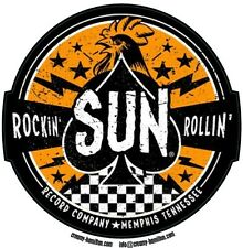 Sun Records circular vinyl self cling window sticker 95mm Elvis Johnny Cash