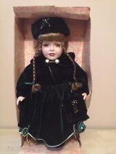 """McField International Co. Porcelain Doll 16"""" in Green Velvet Dress New"""
