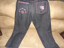 Men's Jeans KnockOut Jeans 46x 32 Easy Fit.  Black with Red Trim/Embroidery: EUC