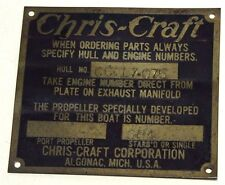 CHRIS-CRAFT RUNABOUT BRASS NAMEPLATE-- ORIGINAL AND VINTAGE.
