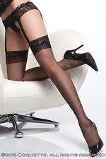 Sexy Sheer thigh high stockings triple grip Black Hosiery S/M 8 10 12 CQ1752 UK