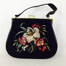 Vintage 1950's Needlepoint And Leather Structured Purse/Bag.
