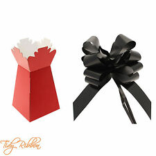 Red Living Vase Bouquet Flower Box Gift Sweet Florist Large 50mm Black Pull Bow