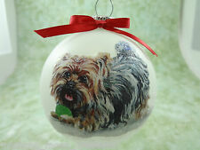 D020 Hand-made Christmas Ornament dog - Yorkshire Terrier Yorkie - playing ball