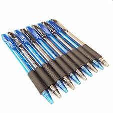 10 x Retractable Ball Point Pens Rubber Grip Blue Black Ink Biro Jotter Ball Pen