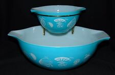Pyrex HOT AIR BALLOON TURQUOISE *CHIP & DIP SET* MINT* #1*