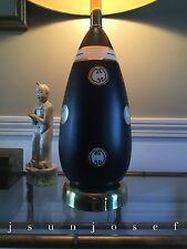 Hand Painted Marbro Hollywood Regency Chinoiserie Black Gold Teardrop Form Lamp