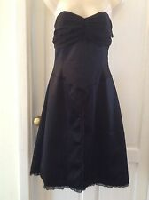 Whistles Black Satin Strapless Boned Fit And Flare Dress. Size 12 Vintage Style