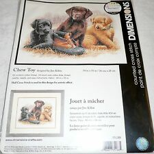 "Dimensions Counted Cross Stitch Kit Dog Puppy Labrador CHEW TOY 14"" x 11"""