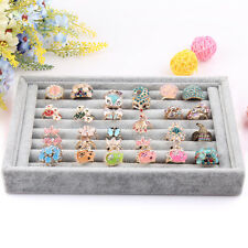 Gray color Jewelry Rings Display Show Case Organizer Tray Box