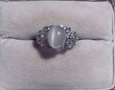 Old Stock 10x8mm Oval Shape Moonstone Stone Sterling Silver 925  Ring skaisJY15
