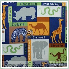 BonEful Fabric FQ Baby Boy Nursery African Safari Jungle Giraffe Elephant Monkey