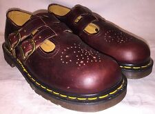 Womens UK Size 5 USA 7 DR. MARTENS 8065 DOUBLE BUCKLE Mary Janes Red Shoes