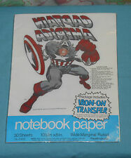 vintage CAPTAIN AMERICA NOTEBOOK looseleaf PAPER with IRON-ON TRANSFER MIP