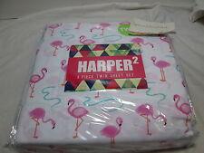 NEW Harper 2 Pink Flamingo Twin Sheet Set (3 pieces) ~ Pink, Coral, Aqua NIP