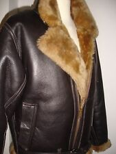 Men's Real Sheepskin pilot (Aviator) jacket, Hand made, Brown/Ginger