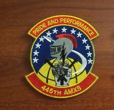 USAF FLIGHT SUIT PATCH, 445TH AMXS SQUADRON, WITH HOOK PILE TAPE FASTENERS