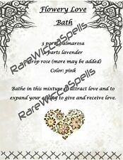 Magick Recipe for Flowery Love Bath 1 parch pg for Wicca Spell Book of Shadows