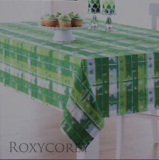 St Patricks Day Green White Shamrock Jacquard Tablecloth 60x102 OBlong NWT