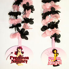 6 Naughty Nice Pink Black Tropical Flower Bachelorette 36in Party Lei Leis