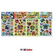 Pokemon Best Wishes Fandom Attack Puffy Volume Stickers : 4 Sheets 1 Set