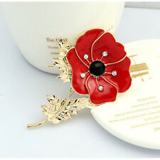 UK-Red-Poppy-Flower-Lapel-Pins-Badge-Banquet-Enamel Diamante Brooch