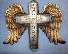 Family Cross Wall Hanging Decor With Wings Spiritual Christian Crucifix Religion