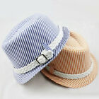 Kids Child Boys Girls Fedora Panama Straw Stripe Sun Hat Jazz Cotton Trilby Cap