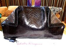 NWT $3750+ SALVATORE FERRAGAMO LARGE BLACK PYTHON SEQUIN CLUTCH BAG EVENING BAG