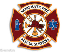 "VANCOUVER CANADA FIRE RESCUE SERVICES 4"" TOOLBOX HELMET DECAL STICKER USA MADE"