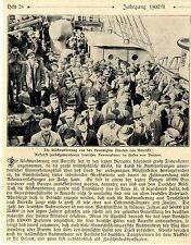 Deutsche US-Rückwanderer inm Bremer Hafen Historische Aufnahme von 1908