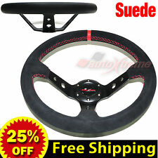 "JDM 350mm 14"" SUEDE LEATHER DEEP DISH Racing Steering Wheel RED Stitches BLACK"