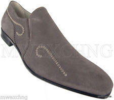 CESARE PACIOTTI US 9 STYLISH GRAY SUEDE LOAFERS ITALIAN DESIGNER MENS SHOES