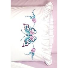 "Fairway Stamped Cross Stitch kit Pillowcases 20"" x 30"" ~ BUTTERFLY #82638 Sale"